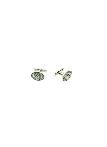 Aykat Kol Düğmesi 925 Ayar Gümüş Oksitli Erkek Kol Düğmesi Kol-17 Gümüş
